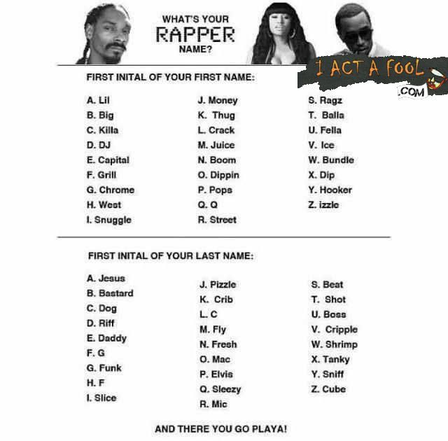 What's Your Rapper Name?? Mine's DJ Elvis.