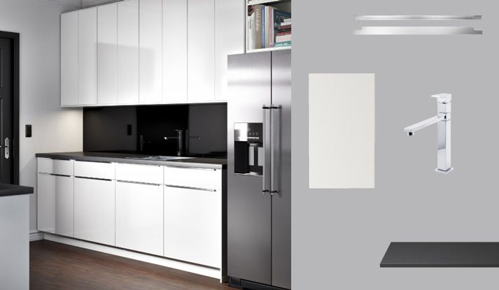 akurum kitchen with abstrakt white high gloss doors and prgel black mineral effect countertop - Ikea Akurum Kitchen Cabinets