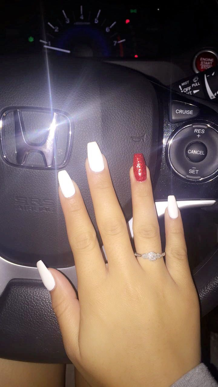 White and Red Sparkle Acrylic Coffin Nails. #holidaynails ...