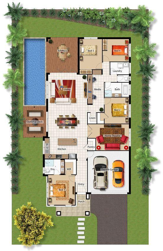 Casa con piscina 4 cuartos oficina y teatro en casa 1 for Diseno de oficinas pequenas planos