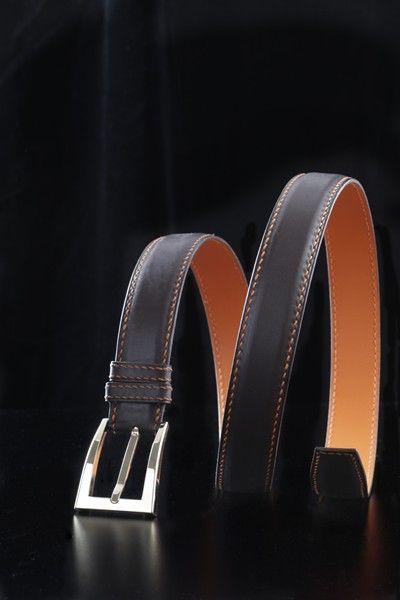 Handmade brown and orange box  belt by  Duret Paris - Ceinture en box  marron et orange. 20af7b5d4ab