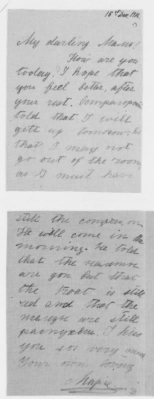 A note from Maria to her mother - 1914