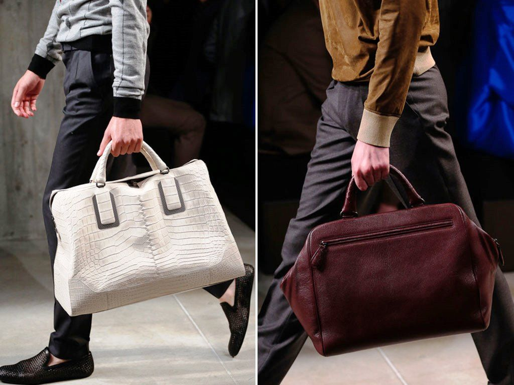 Bottega Veneta White Croc Tote and Burgundy Bag Spring 2014 | Men ...