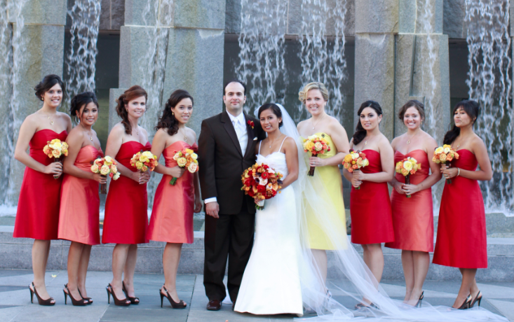 The Bridal Party in Fall Colors. Dresses by Jenny Yoo found at Bella  Bridesmaids in San Francisco. 30aaeb180691