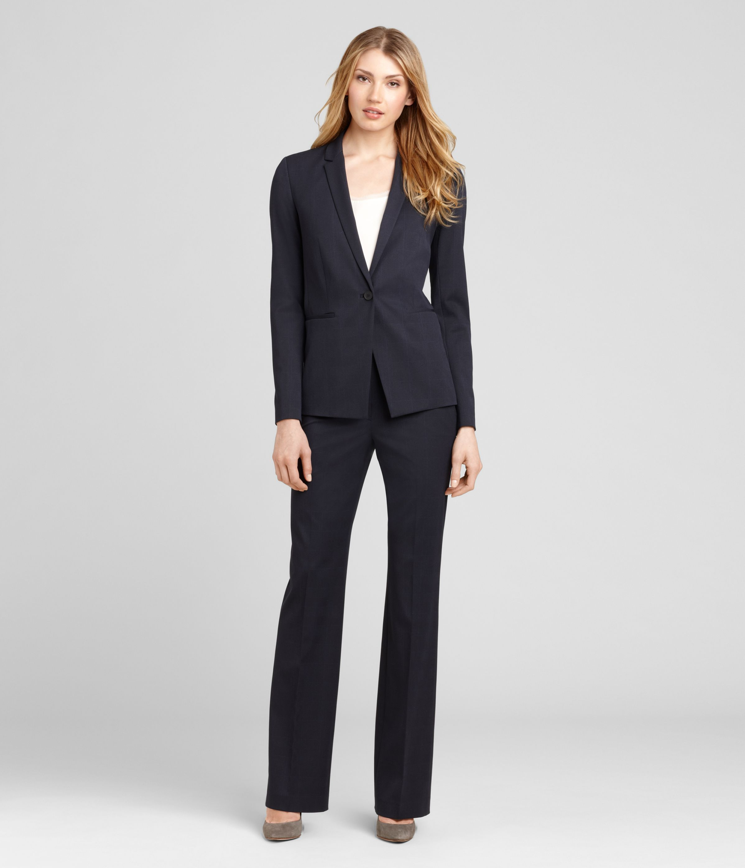 Simple  Khaki Green Slimfit Blazer And Wideleg Black Pants From Rachel Zoe