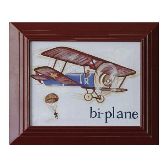airplane canvas- vintage plane decor- framed airplane ...