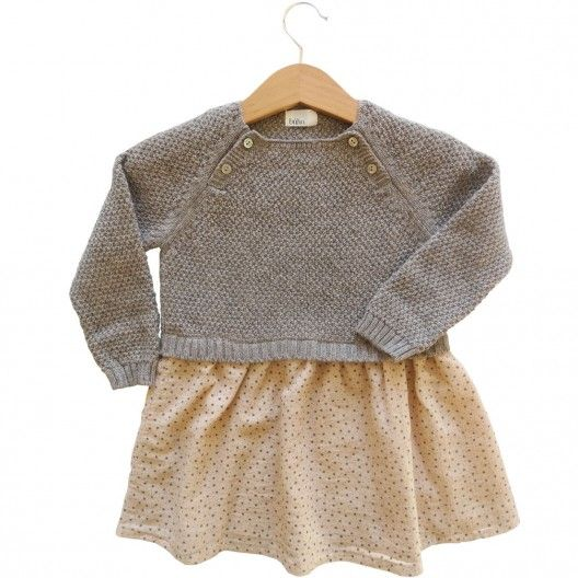 a8c1b9e52 Vestido bebe niña de lana y tela estampado nude estrella