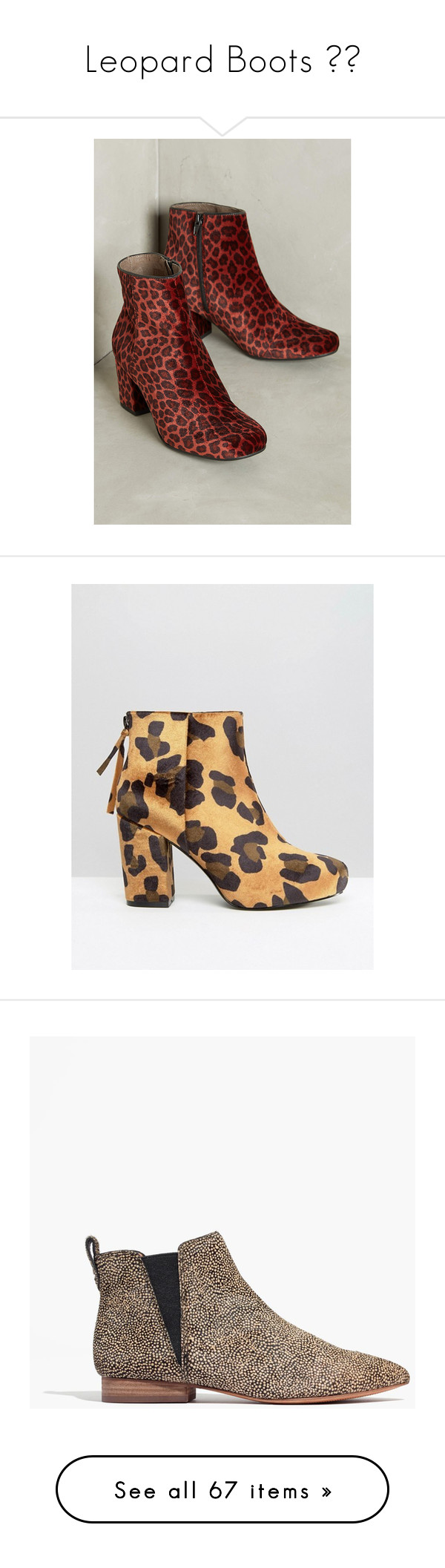 """""""Leopard Boots 🐆👢"""" by fieldnotes ❤ liked on Polyvore featuring shoes, boots, ankle booties, novelty, block heel booties, leopard boots, block heel boots, leopard booties, velvet boots and short boots"""