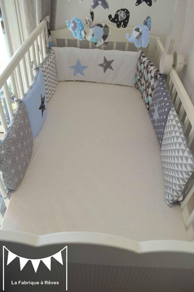 tour de lit enfant bébé bleu gris noir éléphant décoration chambre
