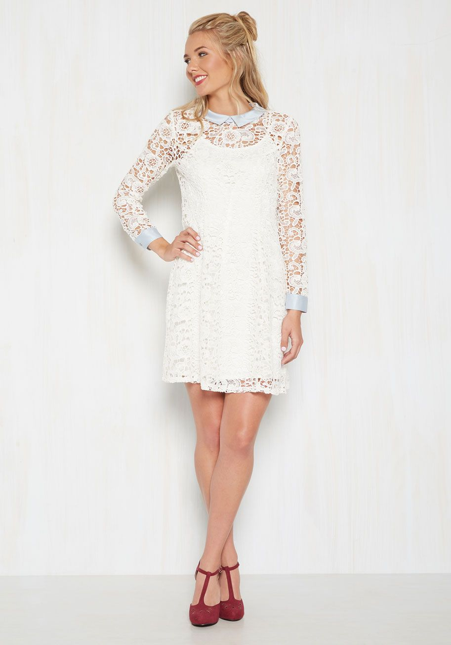 Collar id lace dress in ivory modcloth after pinterest