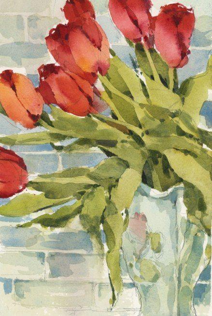 Sunday Tulips The Sketchbook Aquarelle Fleurs Peinture Et