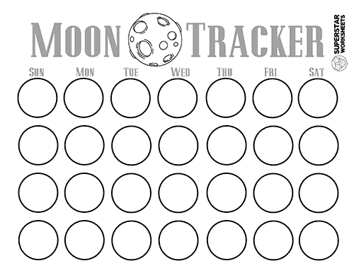 Free Moon Phases Worksheets and activities for homeschool