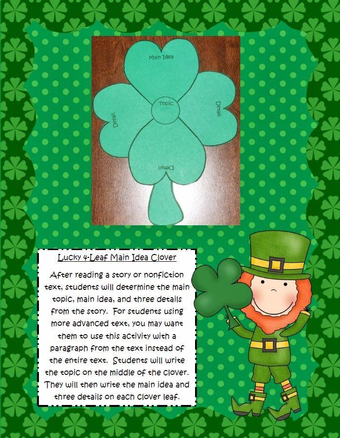 Four Leaf Main Idea Clover Cute Main Idea Activity For