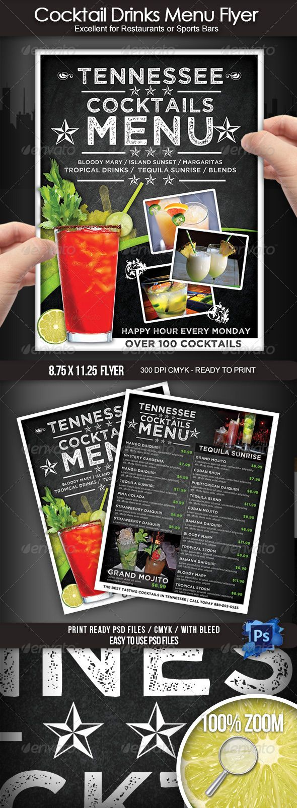 Cocktail Drinks Menu Flyer – Drinks Menu Template