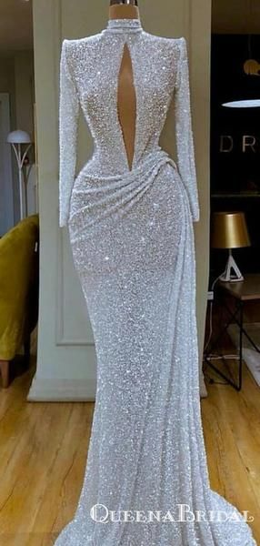 New Arrival Sparkly High Neck Long Sleeves Open Chest Long Cheap Mermaid Sequin Prom Dresses, QB0929