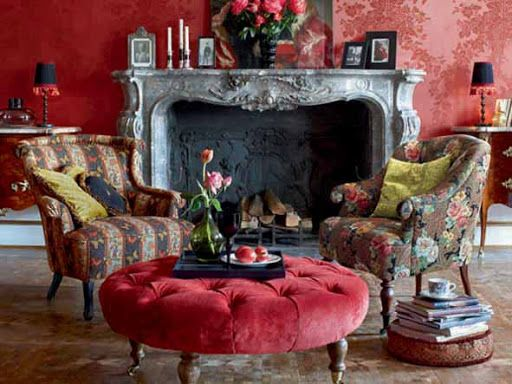 red damask walls - Raumausstattung old english clubs - franzosischen stil interieur ideen