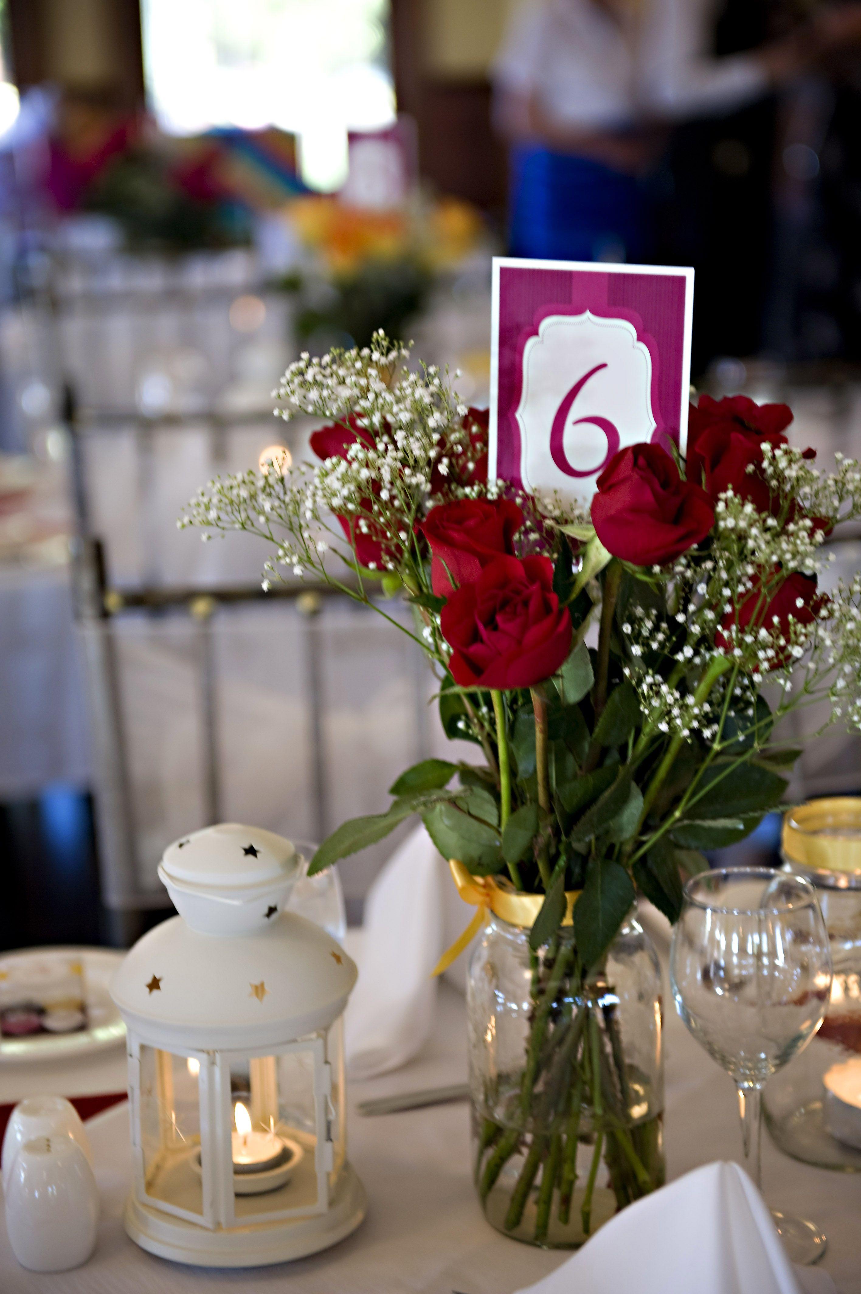 Wedding centre pieces. Mason jar centerpiece. Roses from