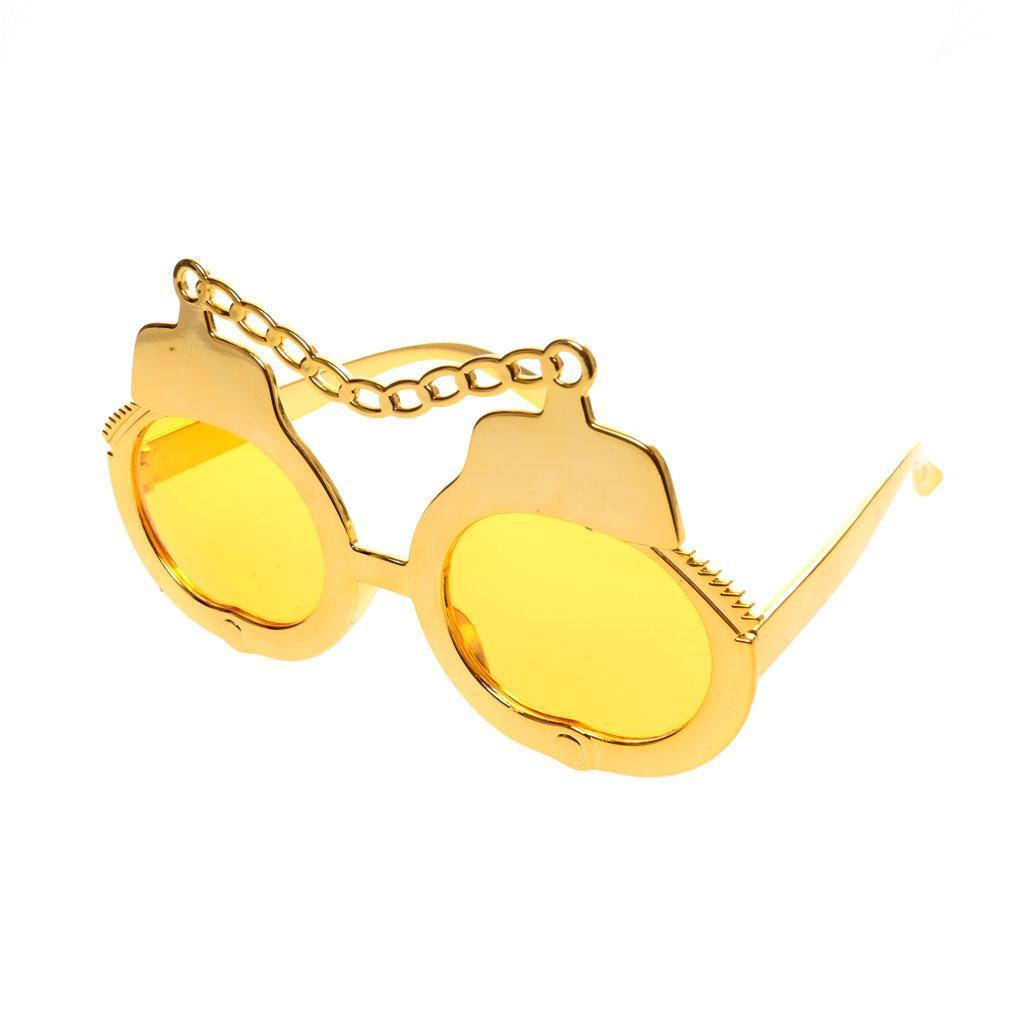 Halloween Party Sunglasses Shades Handcuffs Fancy Dress Costume Party Gold