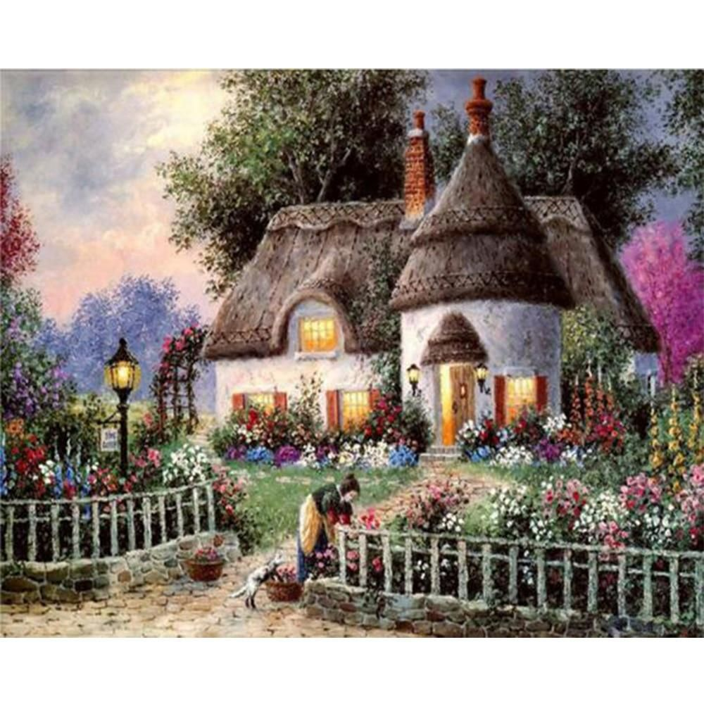 Country Cabin Thatched Roof Flower Garden Diy Diamond