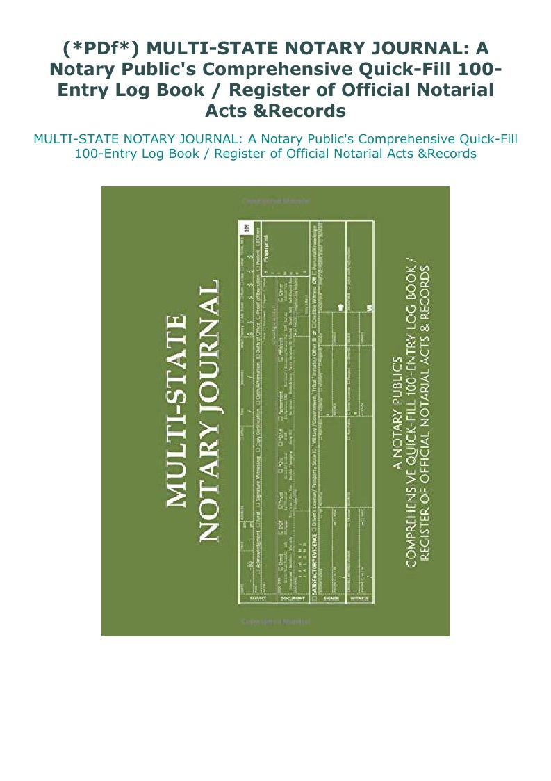 Pdf Multi State Notary Journal A Notary Public S Comprehensive Notary Book Log Notary Public