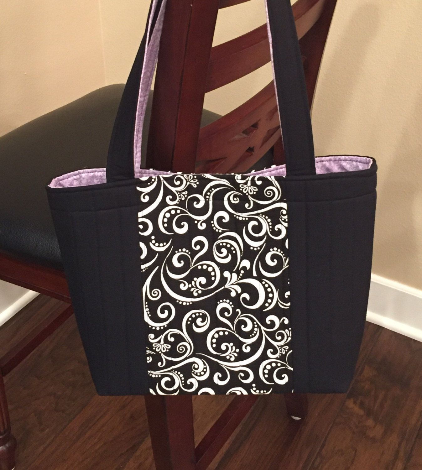 Black and grey damask print cotton Small pouch