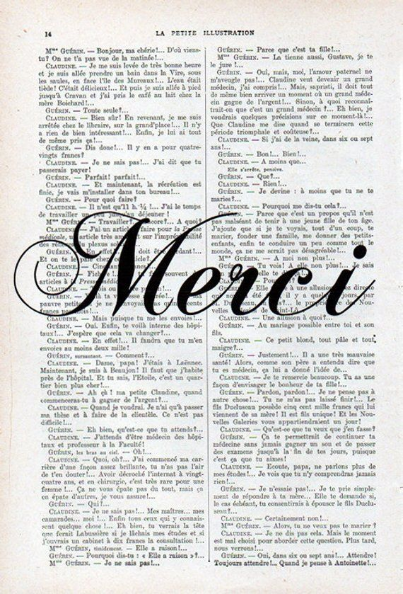 Merci French Word Print Typography Art Poster Home Decor