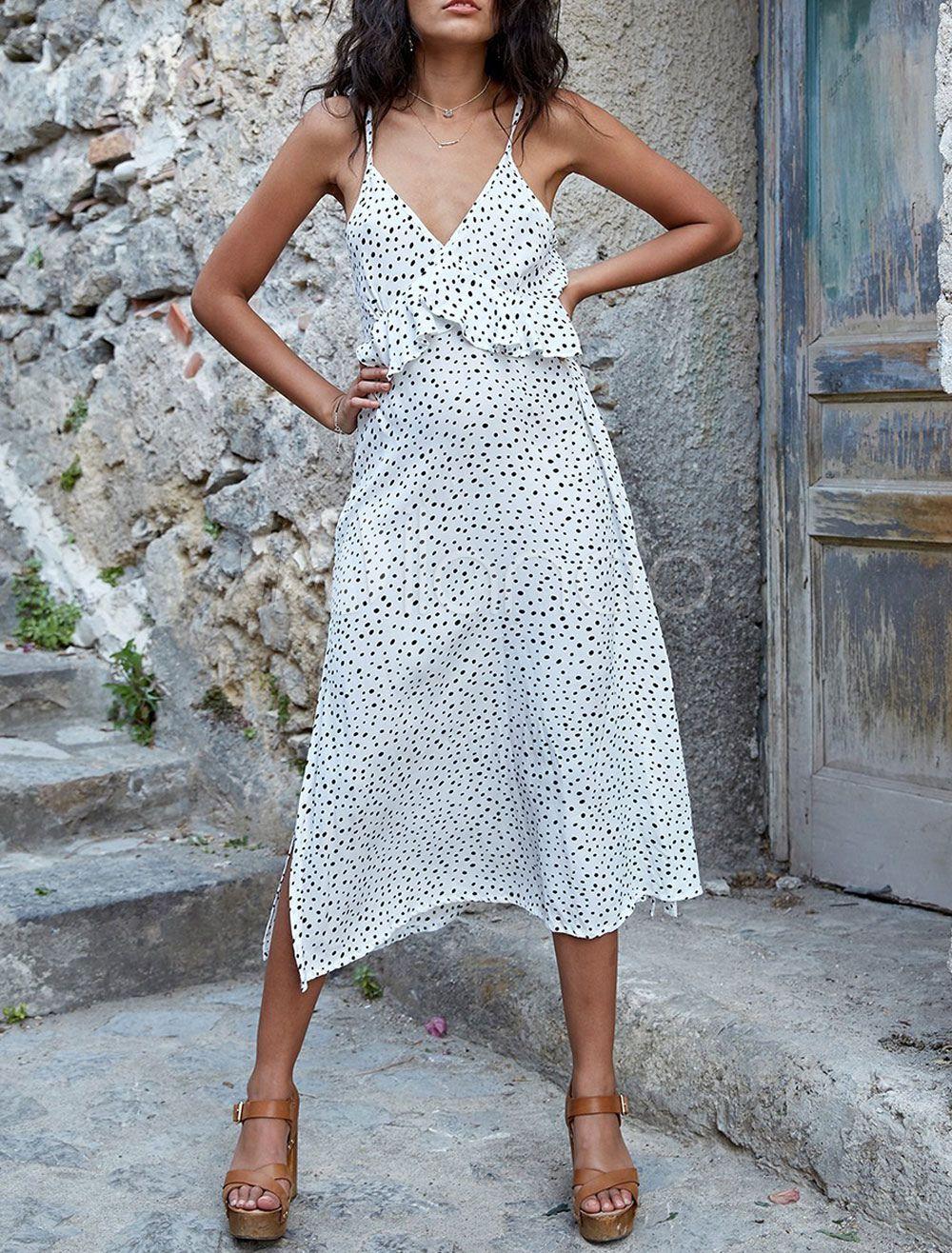 White Summer Dress V Neck Straps Ruffles Polka Dot Long Dress Polka Dot Long Dresses Bohemian Maxi Dress Summer Dress Outfits [ 1316 x 1000 Pixel ]