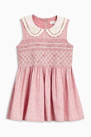 b438e26d6a5a Pink Ditsy Printed Shirred Collar Dress (3mths-6yrs)