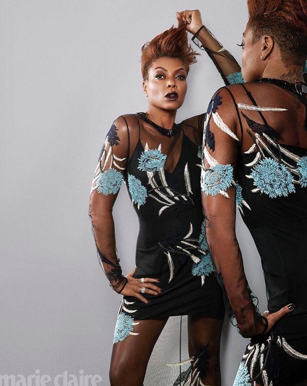 Taraji P. Henson proudly displays her lingerie in a sheer