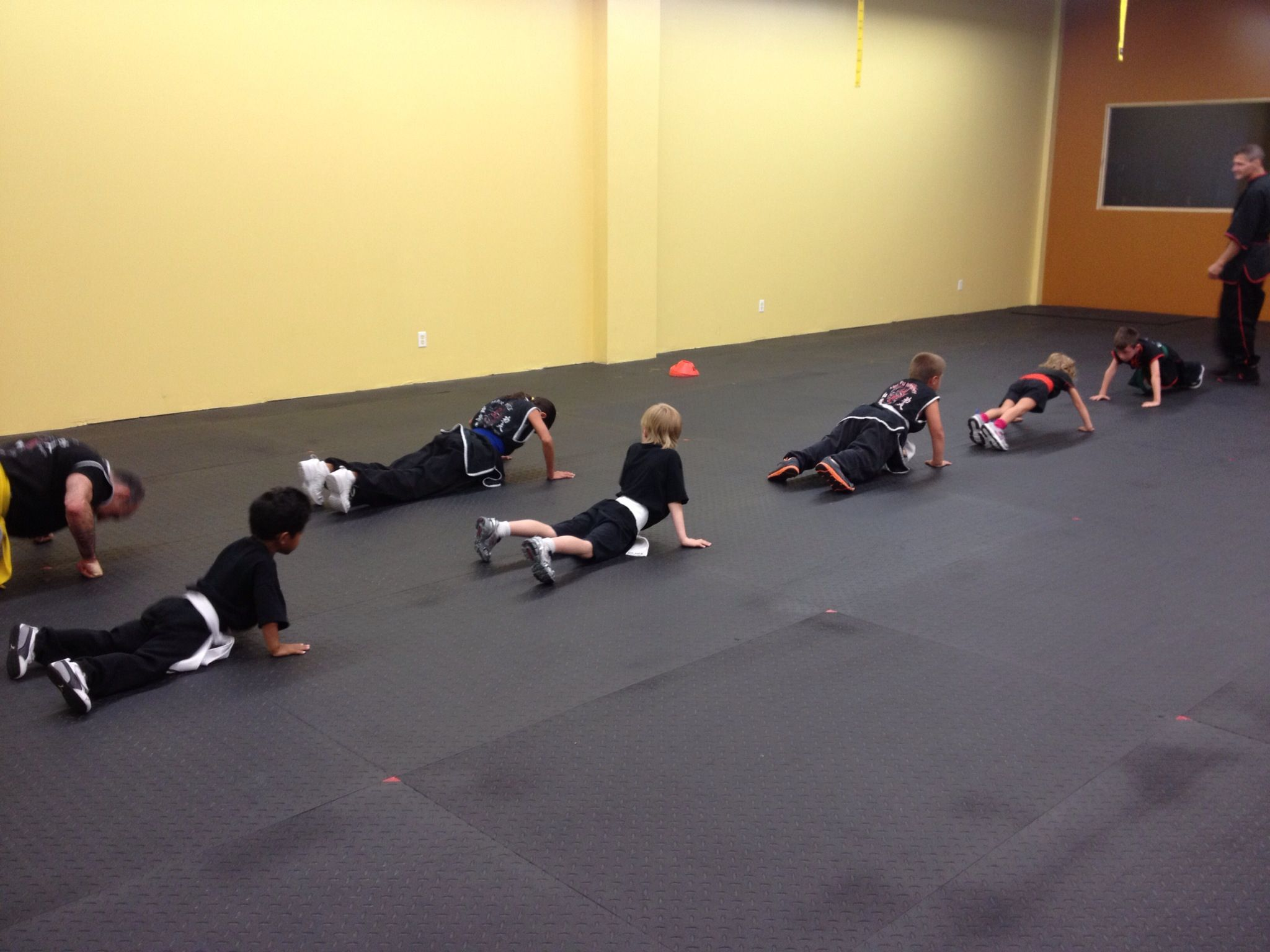 Practicing our push ups to make us stronger