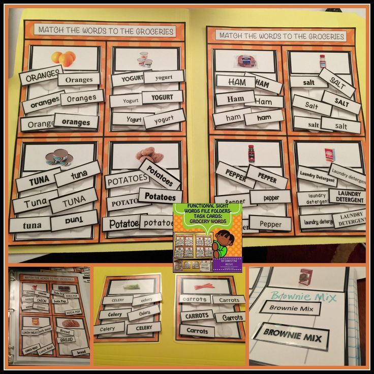 Lots of options for file folders, task cards and flip flaps for - grocery words
