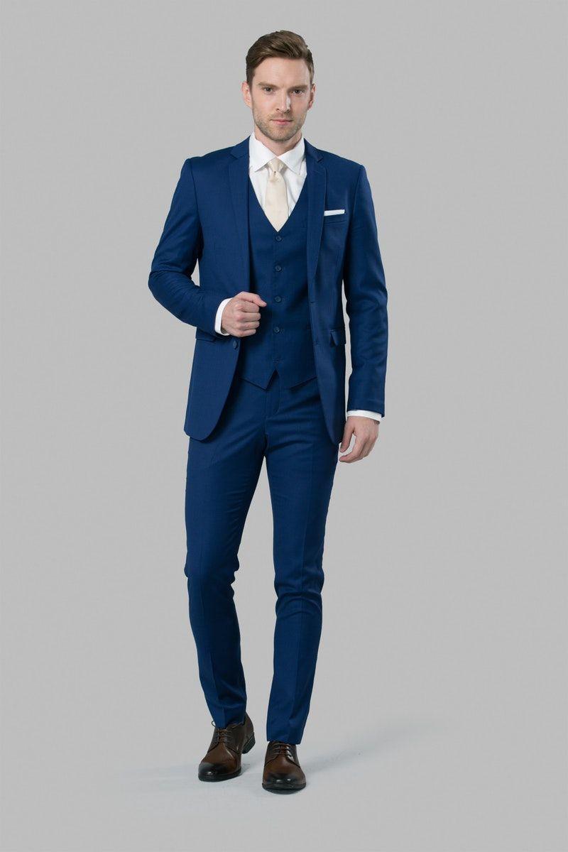 The Lyon Bright Blue Notch Lapel Suit By Menguin Mens Wedding Suits Navy Wedding Suits Men Blue Blue Suit Men