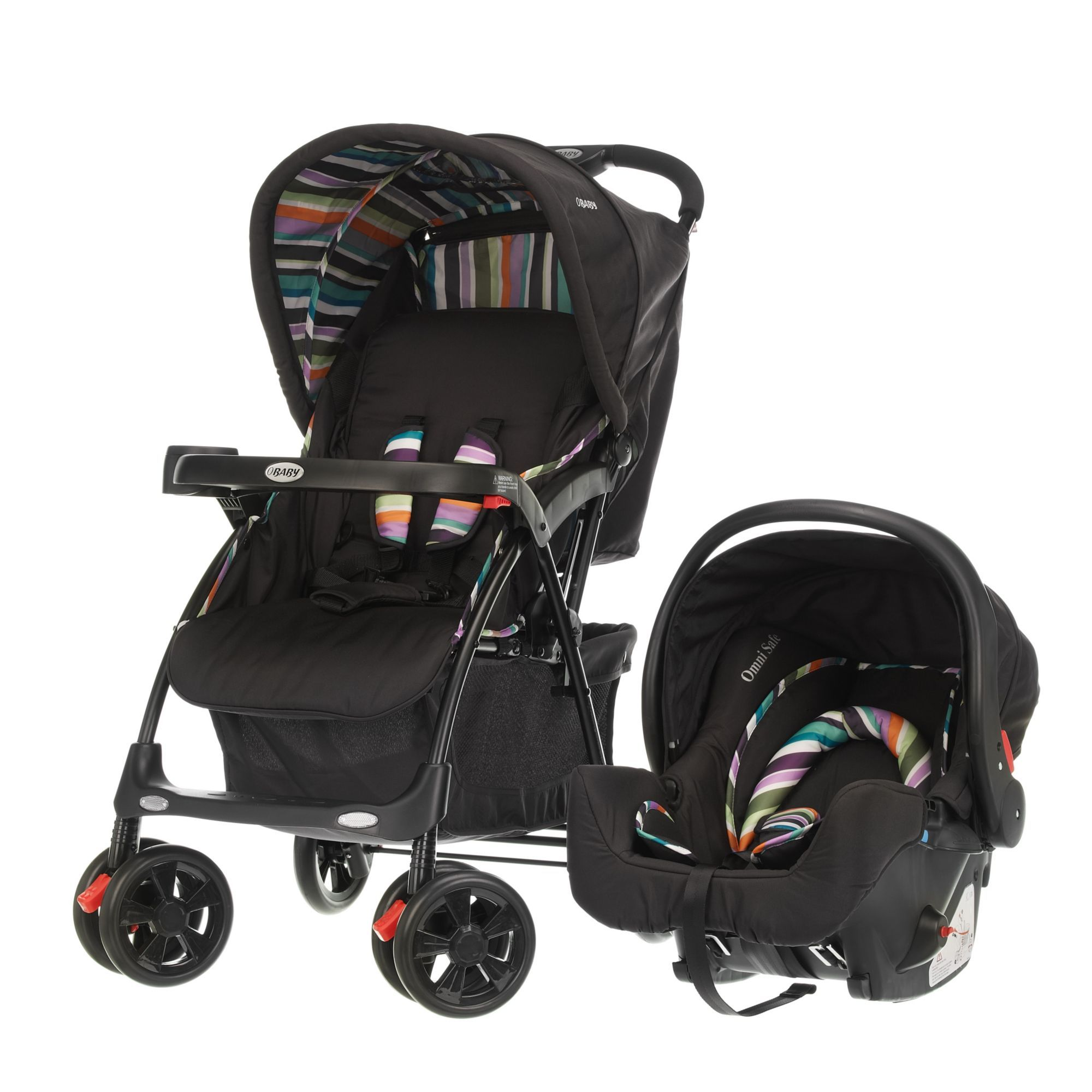 OBaby Monty Pushchair Travel System Black Stripe
