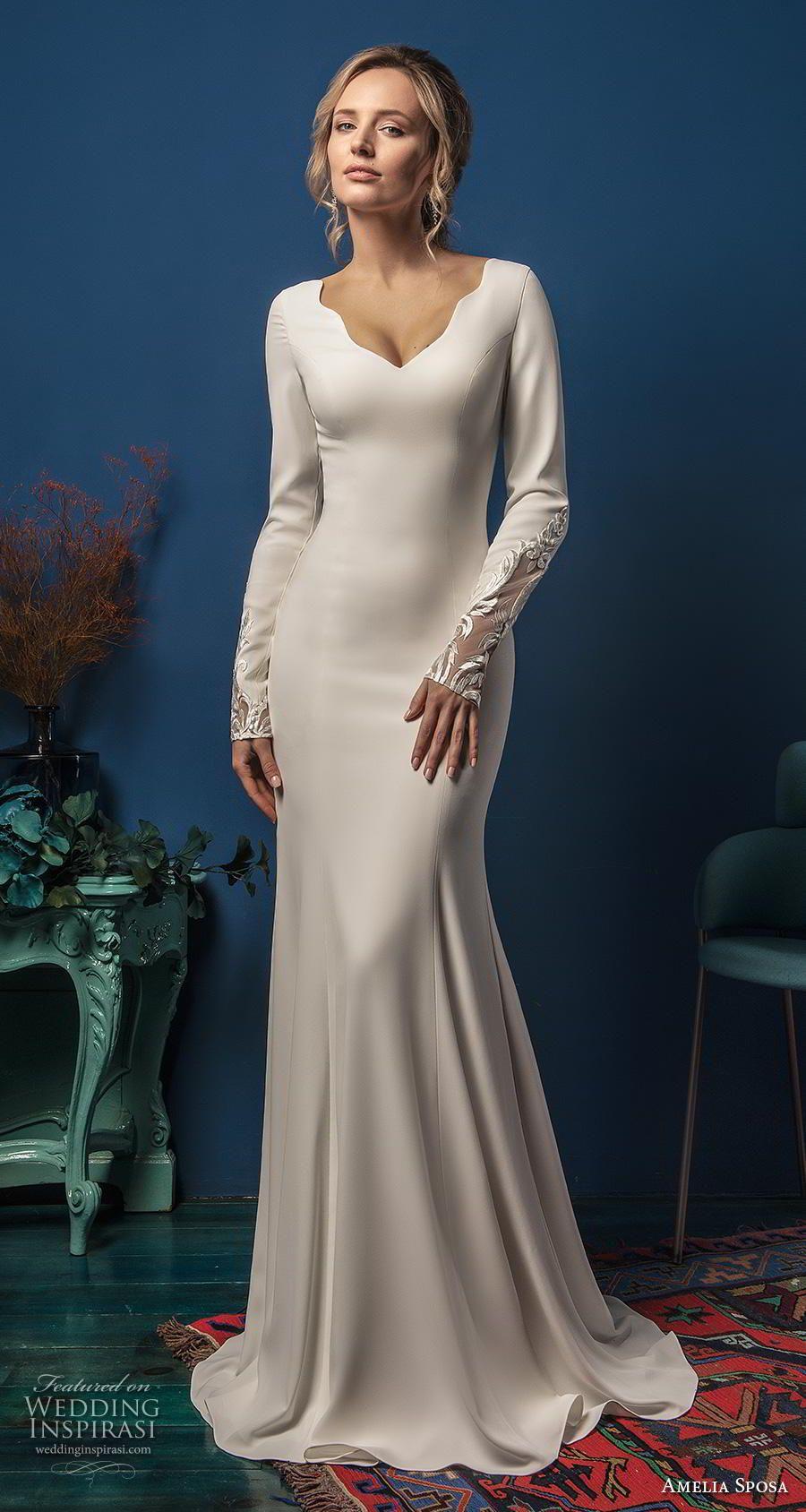 Amelia Sposa 2019 Wedding Dresses Elegance Bridal Collection Wedding Inspirasi Wedding Dresses Sheer Wedding Dress Wedding Dress Long Sleeve [ 1688 x 900 Pixel ]