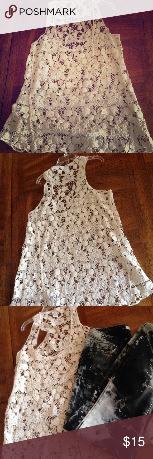 Flash S A L E !!!   Forever 21  lace  top Gently used racerback lace ivory top. Great spring and summer essential. Size S/M Forever 21 Tops Tank Tops