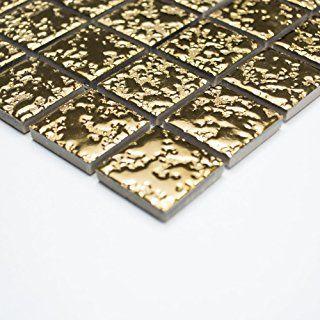Keramikmosaik uni gold gehämmert (1 Matte) Mosaik Fliesen