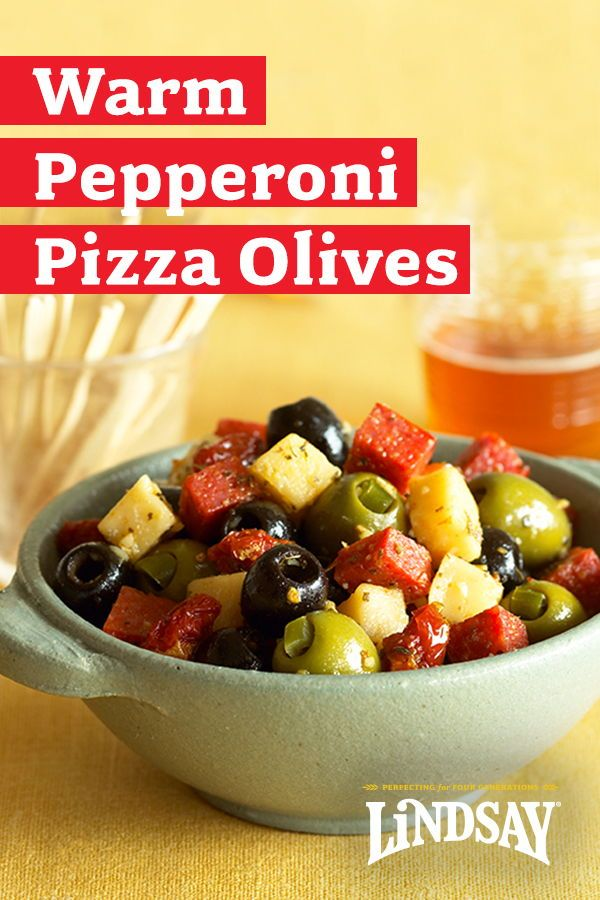 Warm Pepperoni Pizza Olives #footballpartyfood