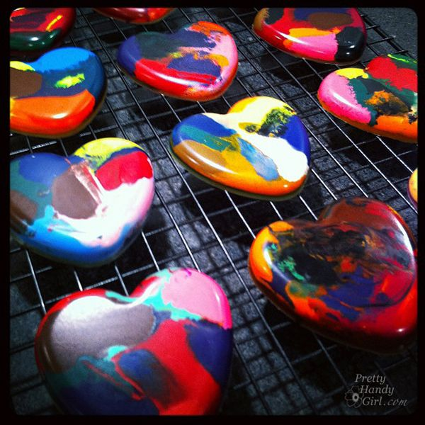 Candy-Free Valentines! - Melted Crayon Heart Valentines