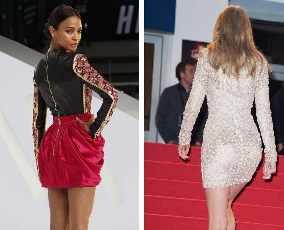 LITEN RUMPE: Har du en liten bakdel, som Zoë Saldaña og Taylor Swift, kan du velge og vrake i farger og mønster. Saldaña har gått for et voluminøst skjørt, som gjør at rumpa ser større ut. Den lysebeige kjolen til Swift har også en forstørrende effekt på rumpa, da lyse farger fremhever.