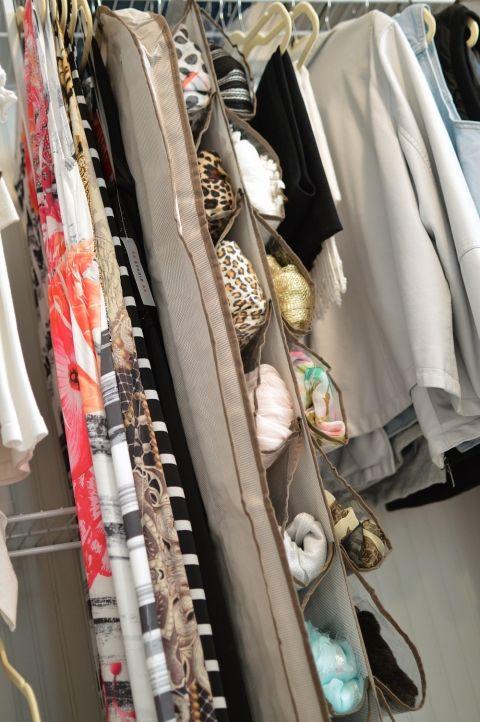 Hanging storage in an organized closet.