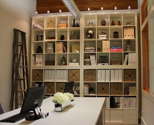 Functional and cozy office space | shelving, storage ideas, small ...