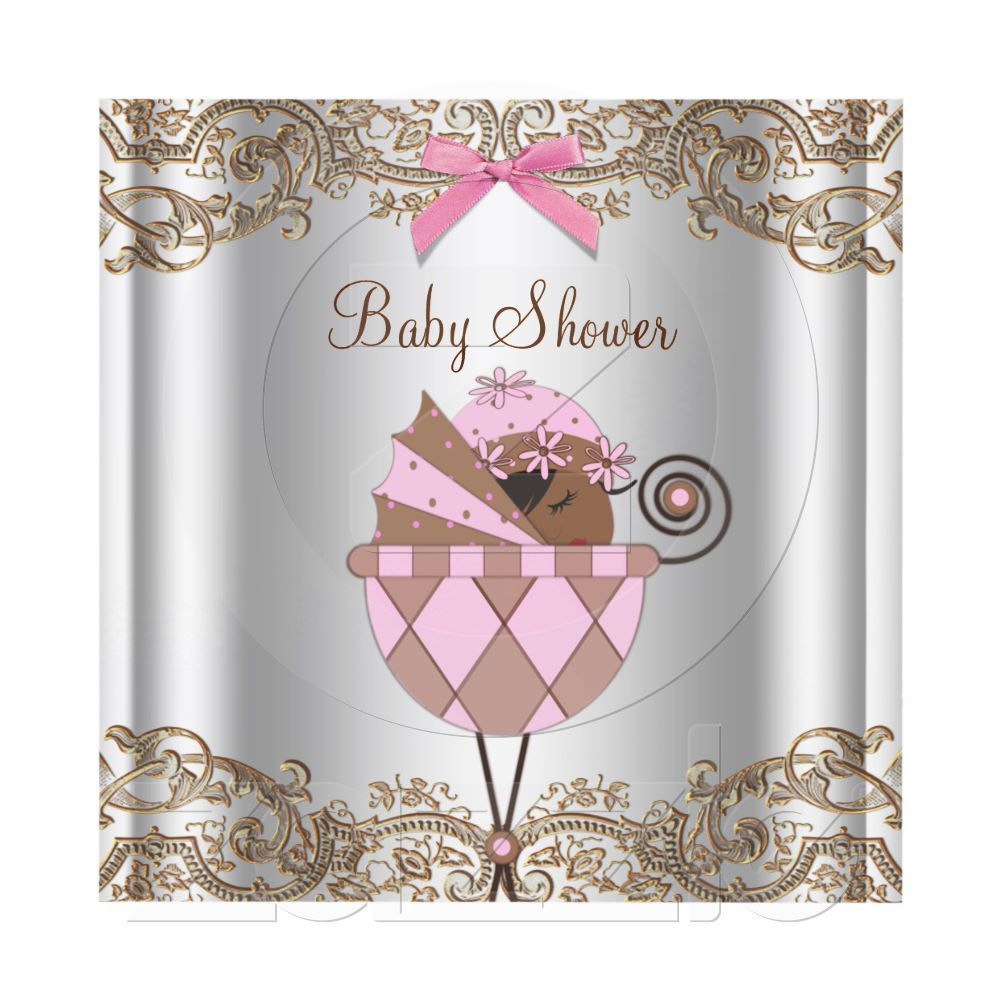 How pretty!!!Pink Brown Lace Baby Girl Shower Announcements from Zazzle.com