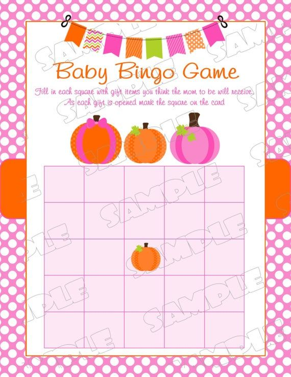 Pink Pumpkin Baby shower games bingo game Printable INSTANT DOWNLOAD UPrint by greenmelonstudios pumpkin fall baby shower