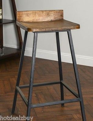 Square Wooden Seat Bar Stool High Chair Kitchen Counter Metal Rustic