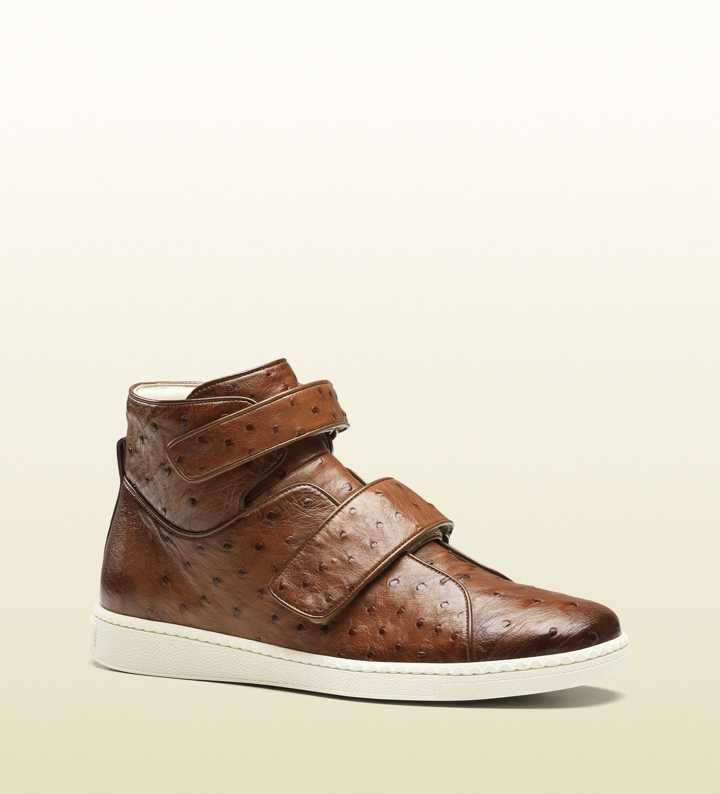 75079ad98615 Gucci cuir ostrich high-top sneaker with velcro closure   Men Shoes ...