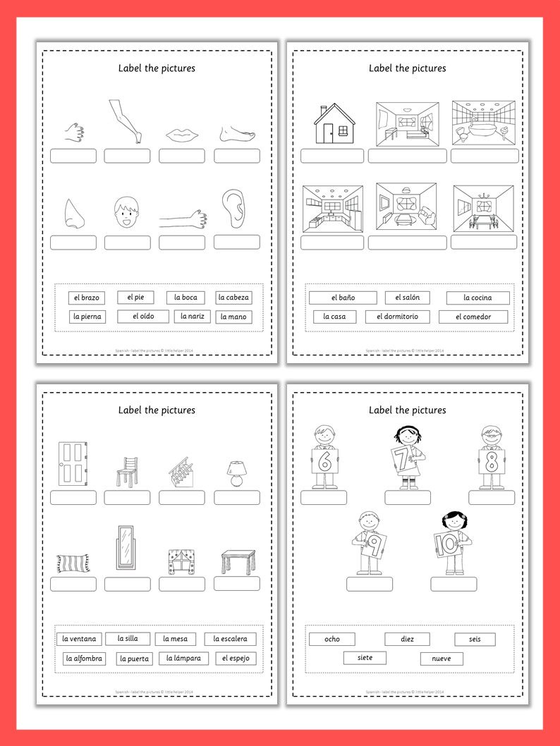 Spanish Label The Pictures Spanish Worksheets And