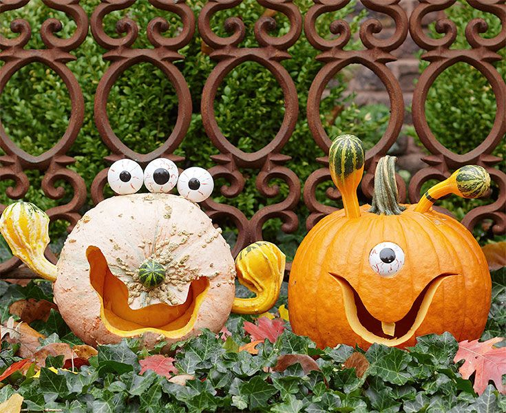 Make goofy goblins using gourds of different sizes -- Lowe\u0027s - how to make pumpkin decorations for halloween