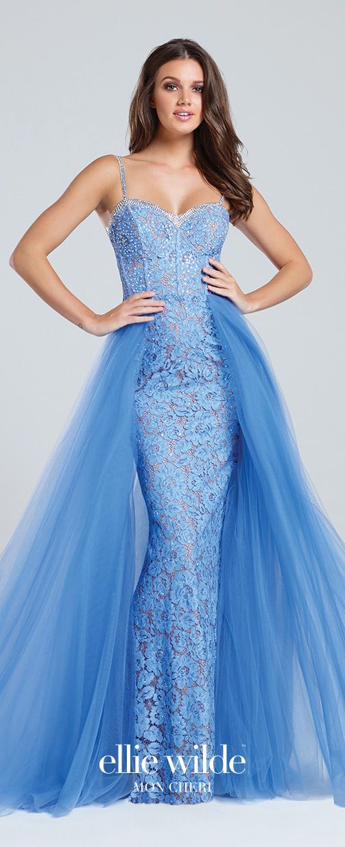 200e458407f Prom Dresses 2017 - Ellie Wilde for Mon Cheri -periwinkle lace prom dress  with tulle overskirt - Style No. EW117065