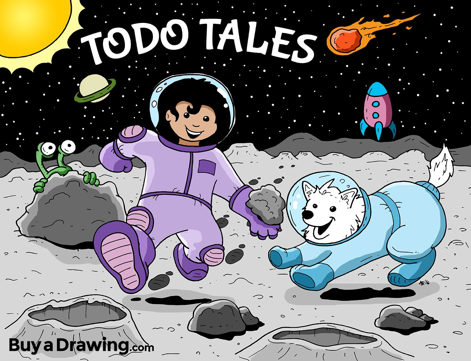 A cartoon drawing of a girl and her dog on an adventure to the a cartoon drawing of a girl and her dog on an adventure to the moon ccuart Images