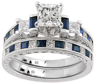 266 carat corina2 sapphire diamond 14kt white gold engagement ring - Sapphire And Diamond Wedding Rings